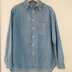 Vintage Denim Oversized Button Down Shirt